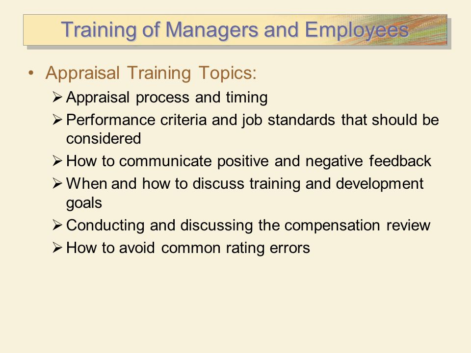 Training of Managers and Employees
