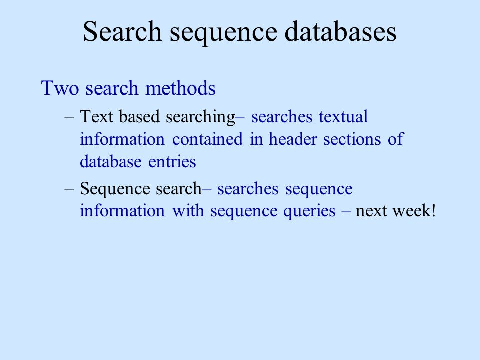 Search sequence databases