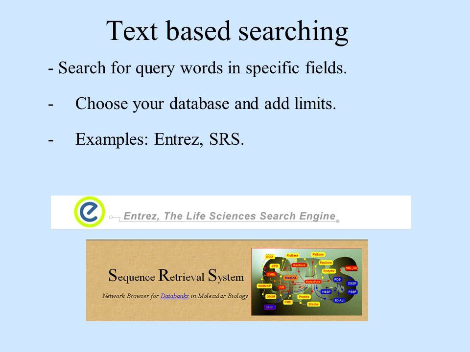 Text based searching - Search for query words in specific fields.