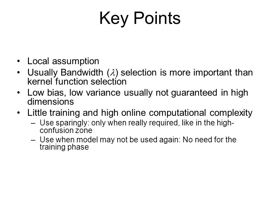 Key Points Local assumption