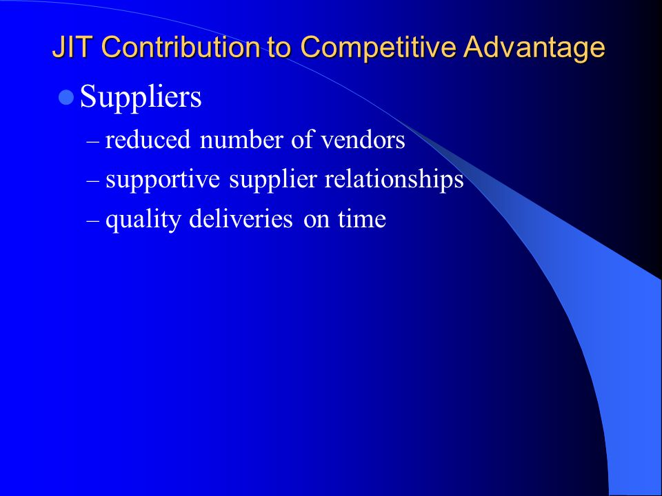 JIT Contribution to Competitive Advantage