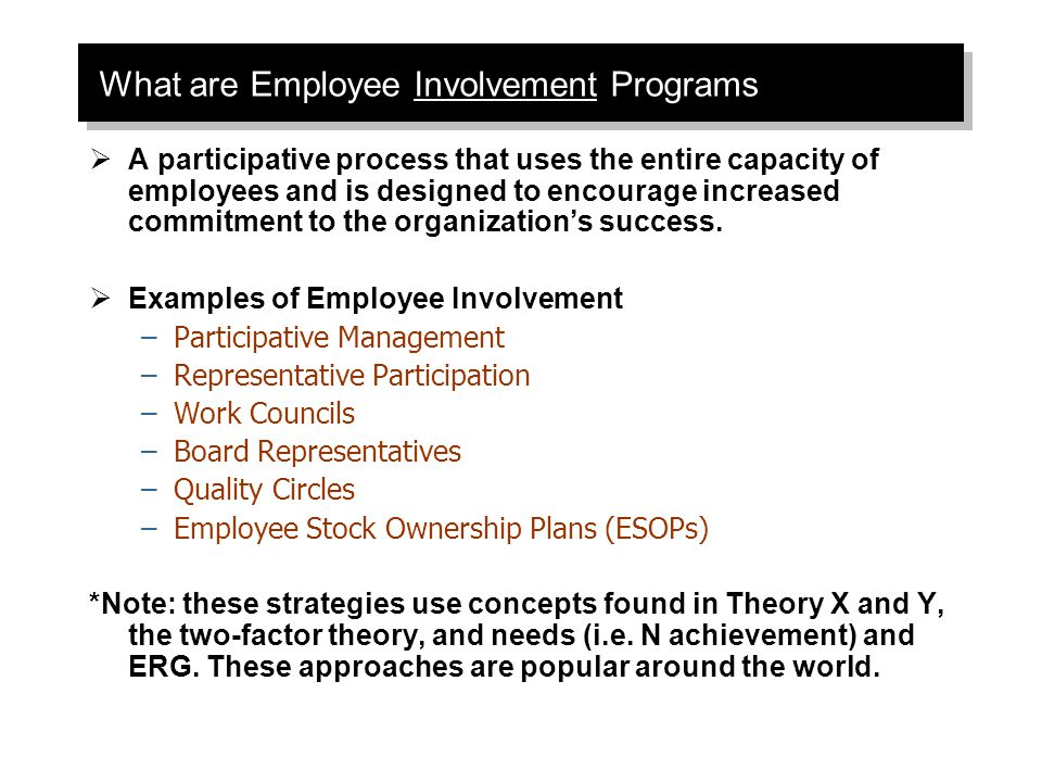 employee involvement case essay A case study of employee engagement in akzonobel corporate hr by: difeng yu (rena) student number: s1155806 supervisors:prof jan kees looise dr ac bos-nehles date: 1 september, 2013  1 ` abstract: employee engagement becomes a popular topic of the workplace instead of job satisfaction and organizational commitment which is approved to.