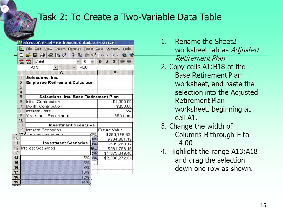 Project 7 forecasting values with what if analysis using data task 2 to create a two variable data table ibookread PDF