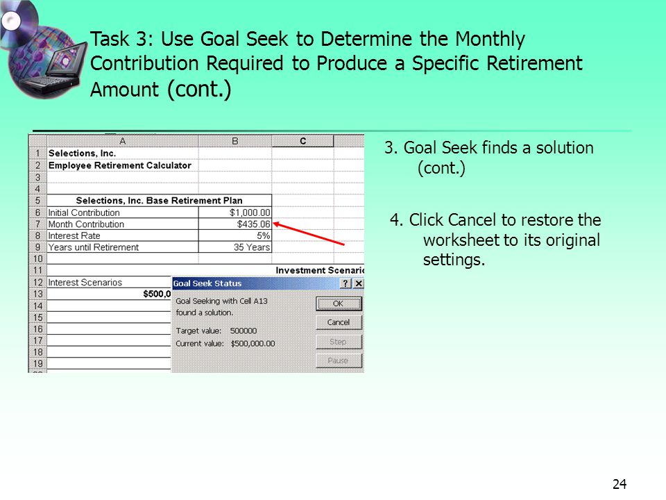 Project 7 Forecasting Values With Whatif Analysis Using Data. Task 3 Use Goal Seek To Determine The Monthly Contribution Required Produce A Specific. Worksheet. Worksheet Goalseek Vba At Mspartners.co
