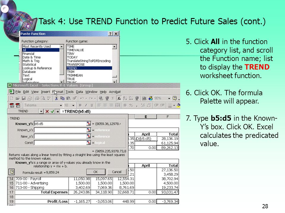 Project 7 Forecasting Values With Whatif Analysis Using Data. Task 4 Use Trend Function To Predict Future Sales Cont. Worksheet. Use Worksheet Function At Mspartners.co