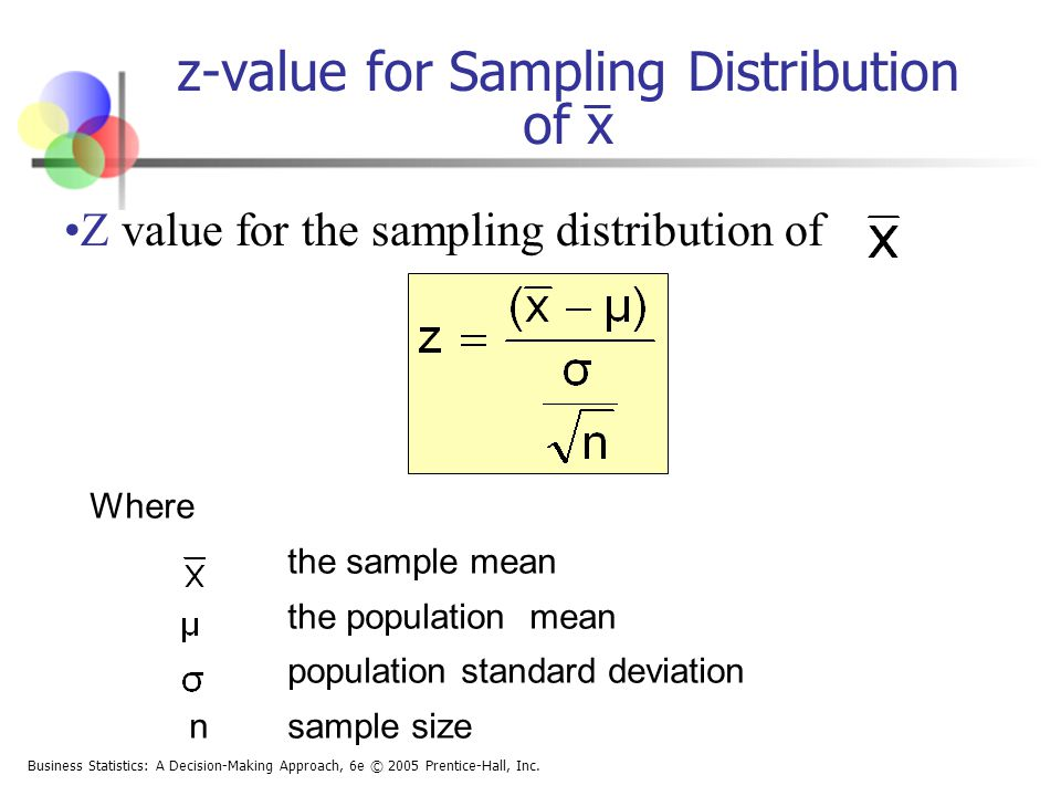 z-value for Sampling Distribution of x