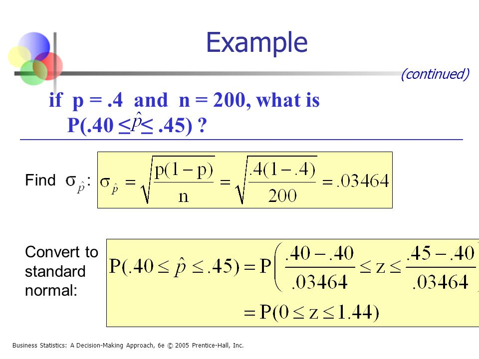 Example if p = .4 and n = 200, what is P(.40 ≤ ≤ .45) Find :