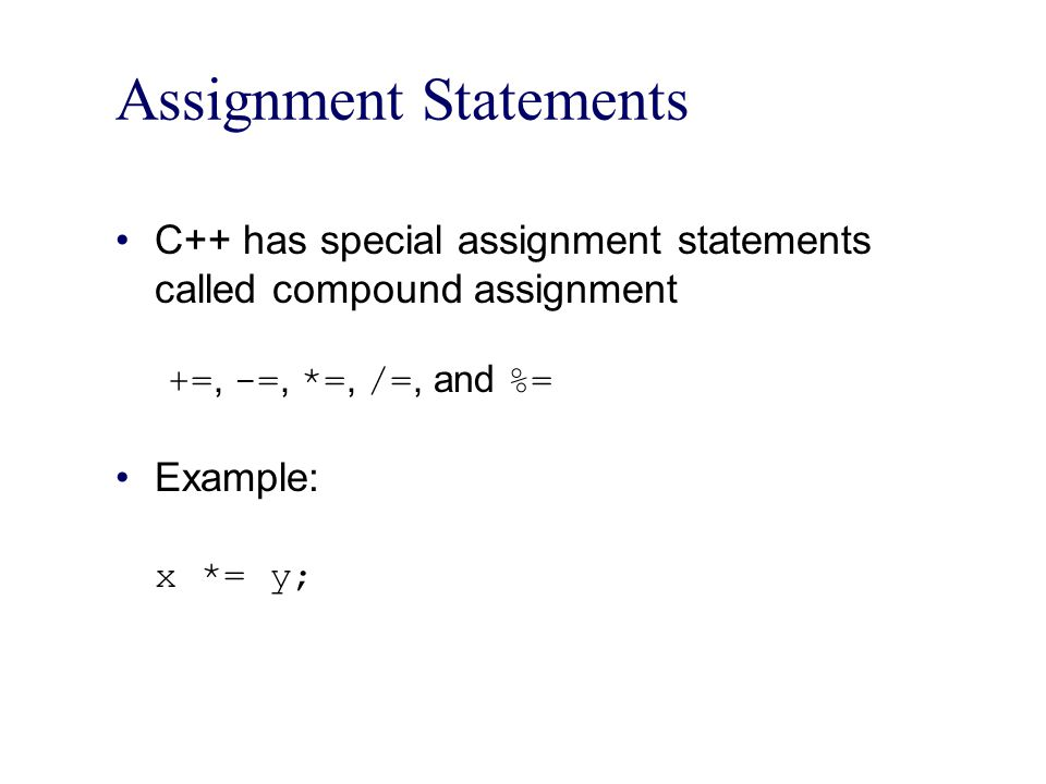 Assignment Statements