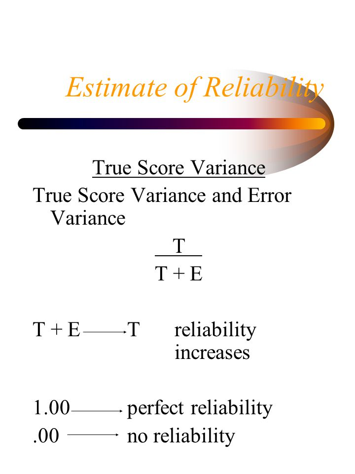 Estimate of Reliability