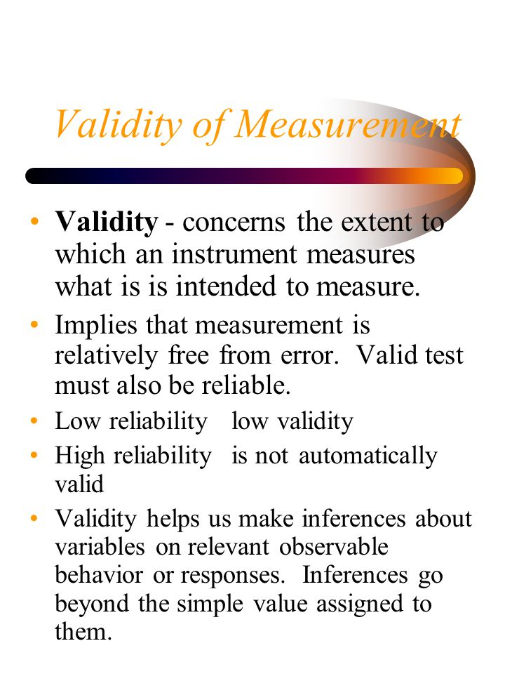 Validity of Measurement