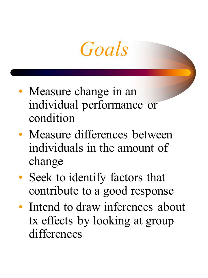 Goals Measure change in an individual performance or condition