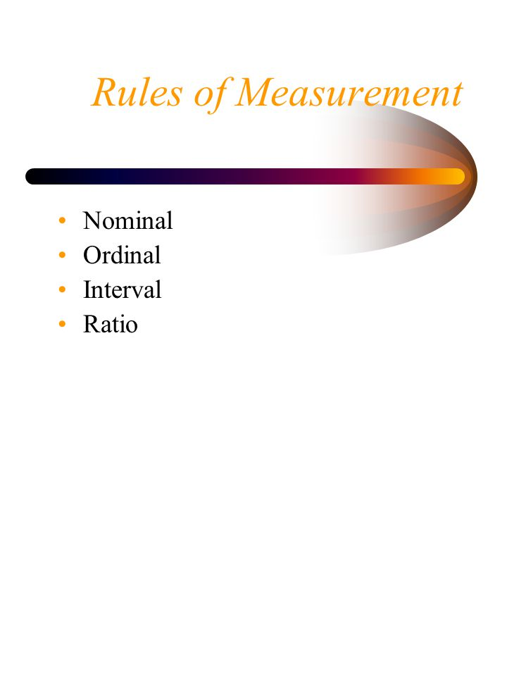 Rules of Measurement Nominal Ordinal Interval Ratio