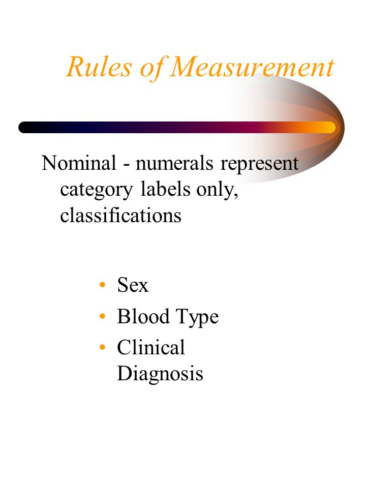 Rules of Measurement Nominal - numerals represent category labels only, classifications. Sex. Blood Type.
