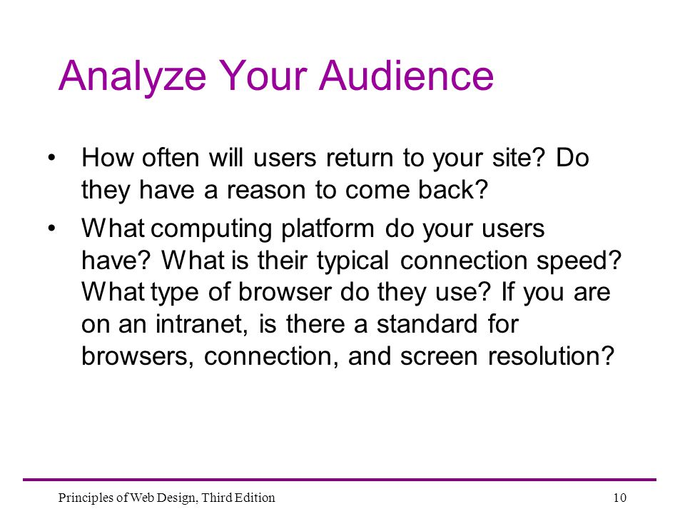 Analyze Your Audience How often will users return to your site Do they have a reason to come back