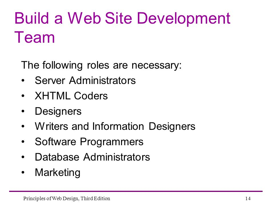 Build a Web Site Development Team