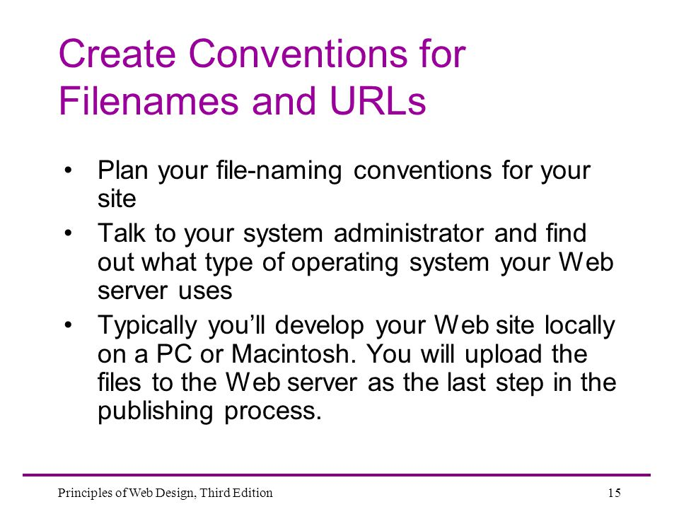 Create Conventions for Filenames and URLs