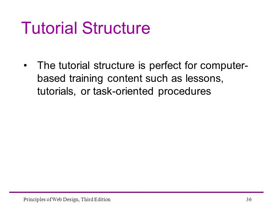 Tutorial Structure The tutorial structure is perfect for computer-based training content such as lessons, tutorials, or task-oriented procedures.