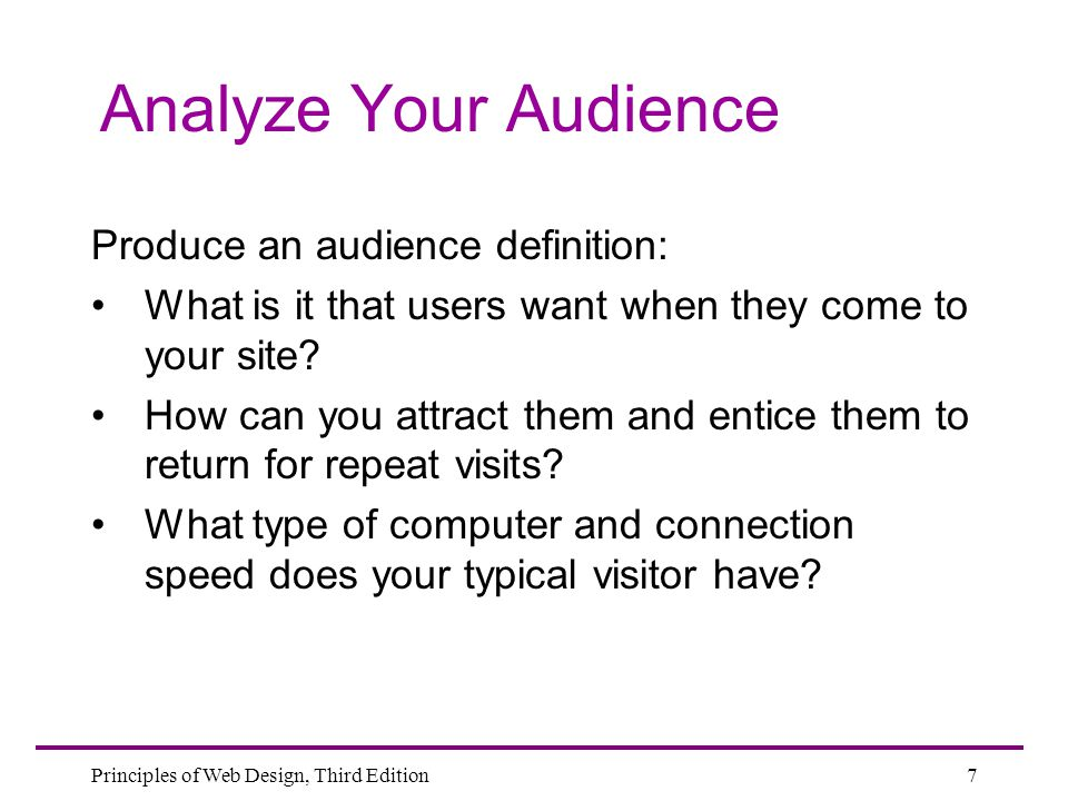 Analyze Your Audience Produce an audience definition: