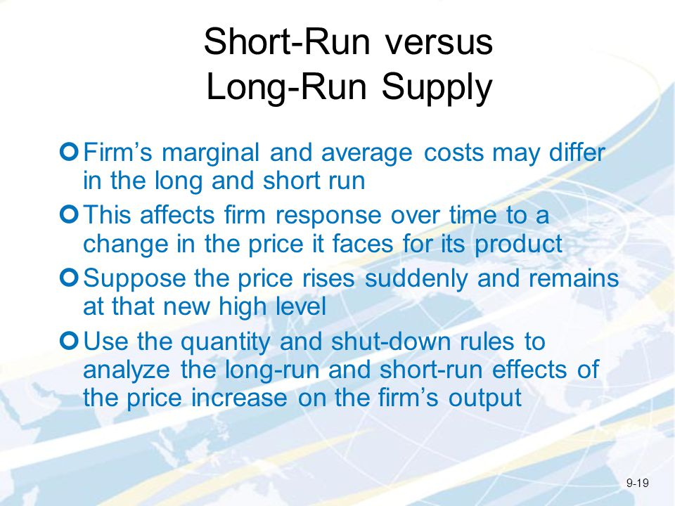 Short-Run versus Long-Run Supply
