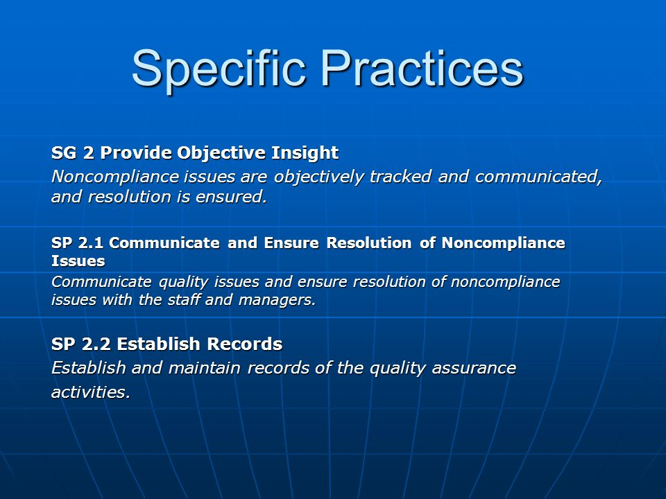 Specific Practices SG 2 Provide Objective Insight