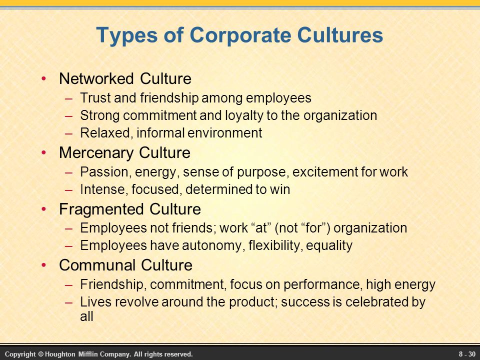 types of corporate culture pdf