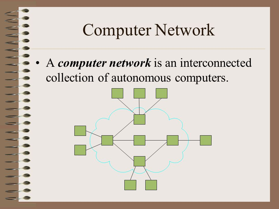 Computer Network A computer network is an interconnected collection of autonomous computers.
