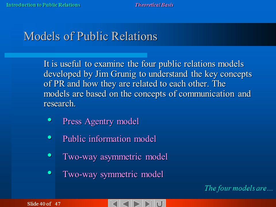 models of public relations