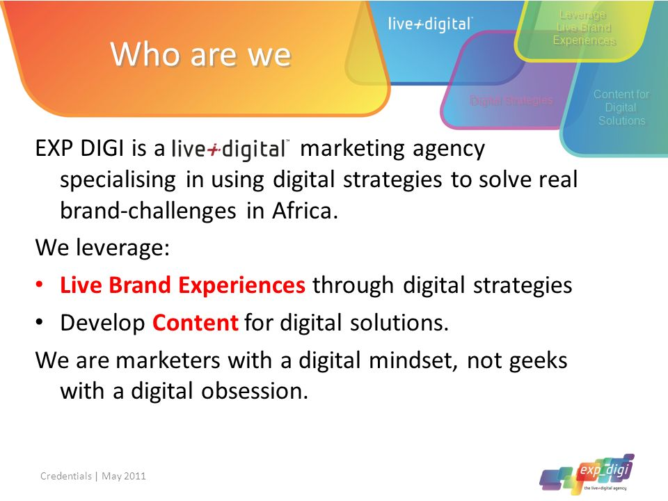 Leverage Live Brand. Experiences. Who are we. Content for. Digital. Solutions. Digital Strategies.