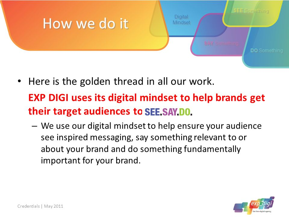How we do it Here is the golden thread in all our work.