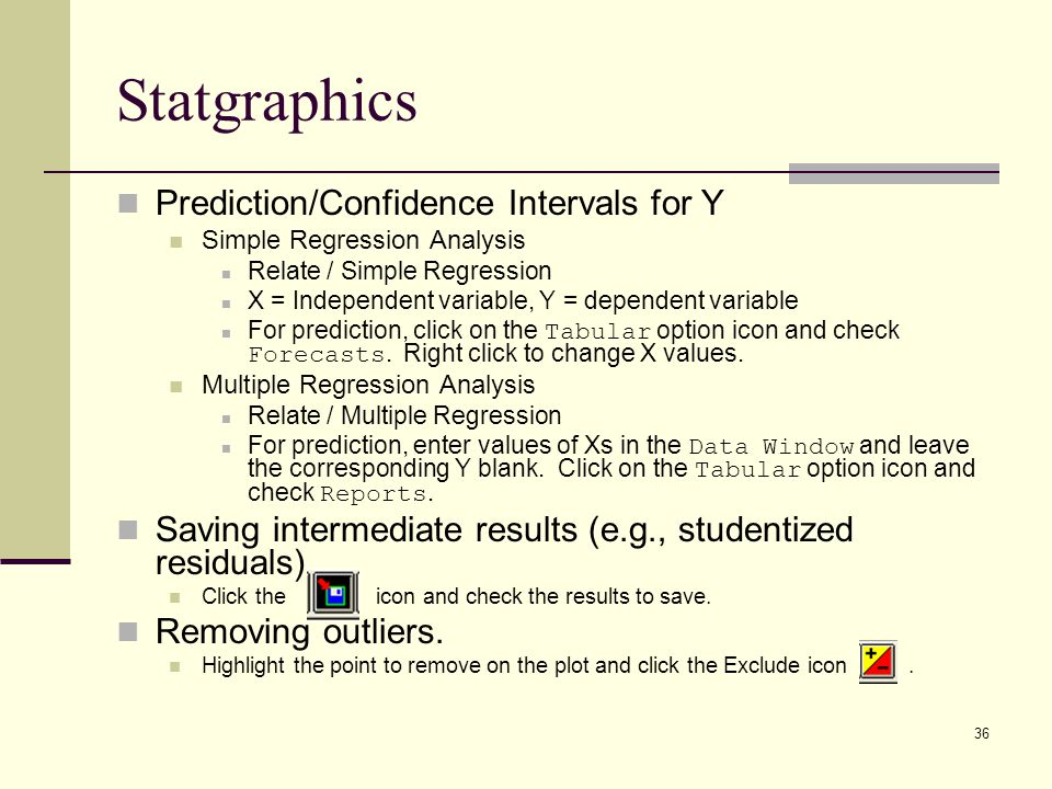 Statgraphics Prediction/Confidence Intervals for Y