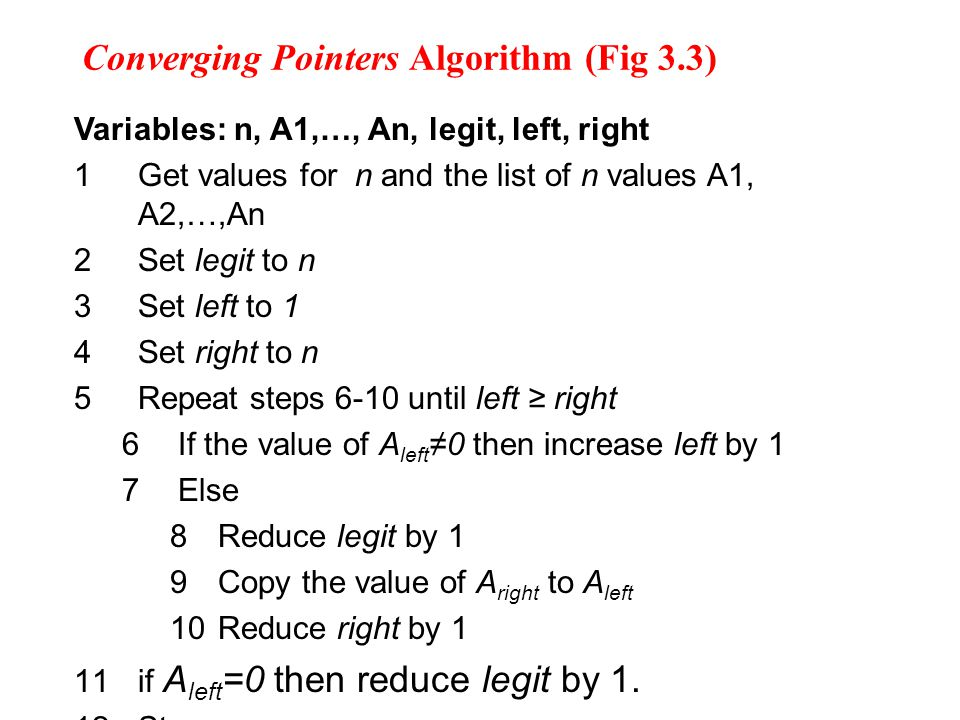 Converging Pointers Algorithm (Fig 3.3)