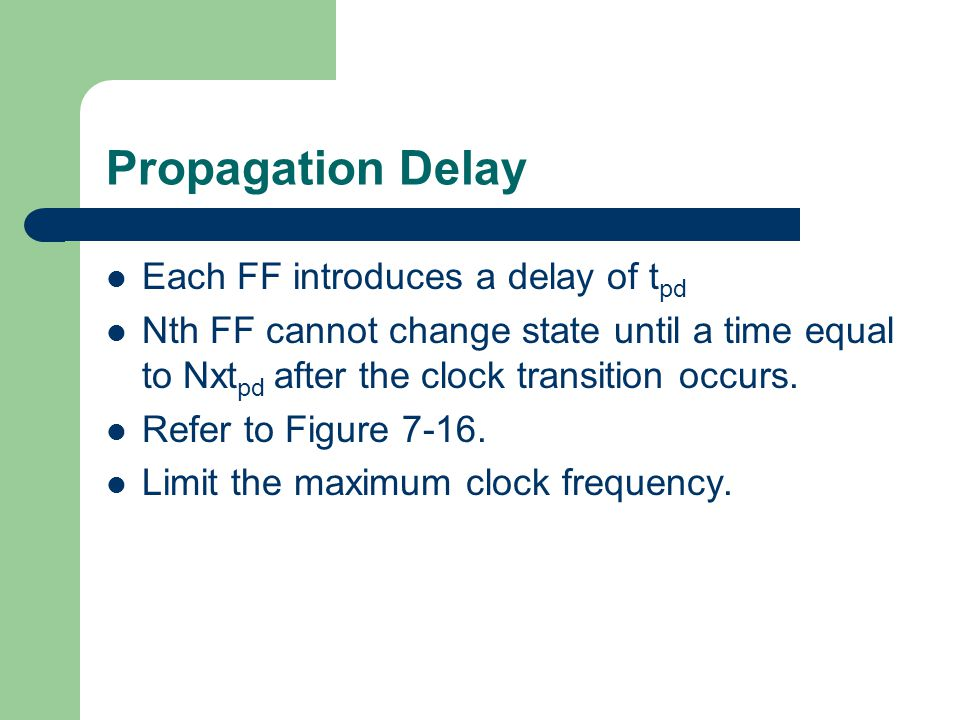 Propagation Delay Each FF introduces a delay of tpd