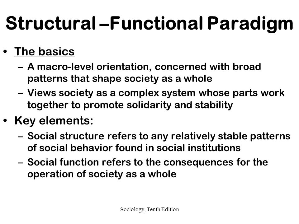 Structural –Functional Paradigm