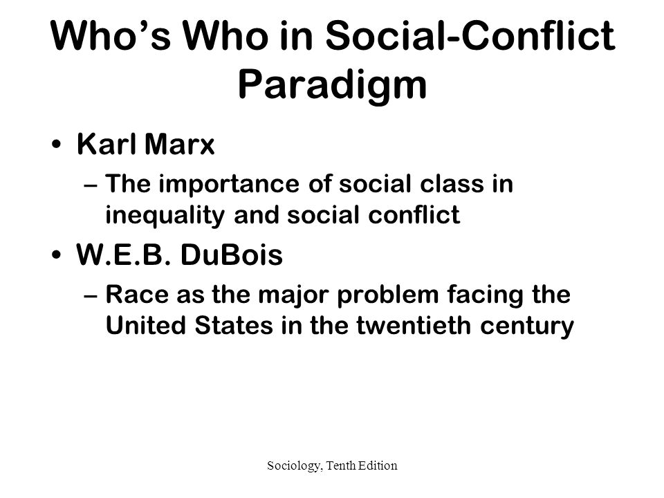 Who's Who in Social-Conflict Paradigm