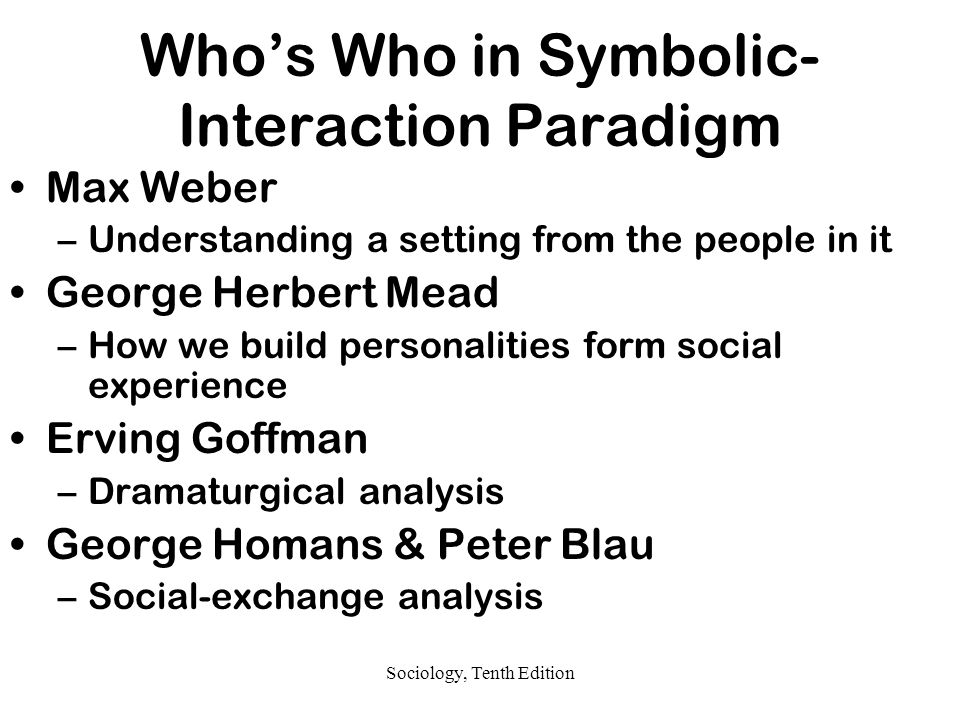 Who's Who in Symbolic-Interaction Paradigm