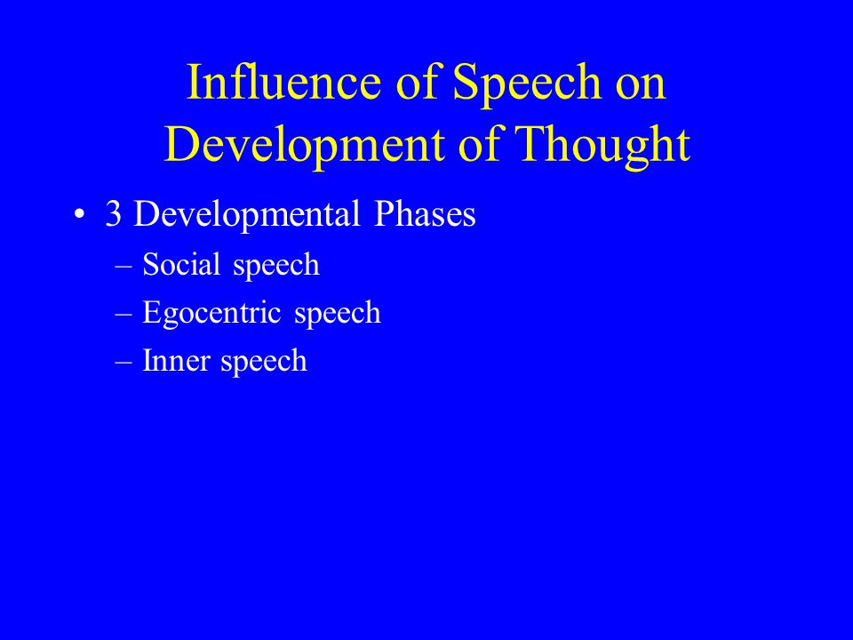 Influence of Speech on Development of Thought