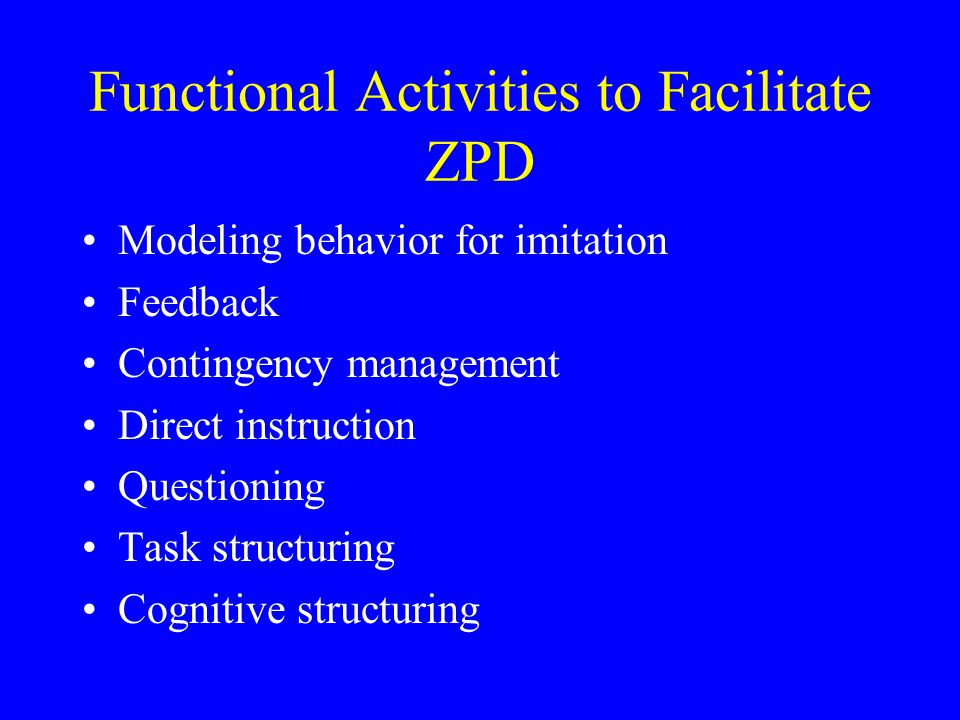 Functional Activities to Facilitate ZPD