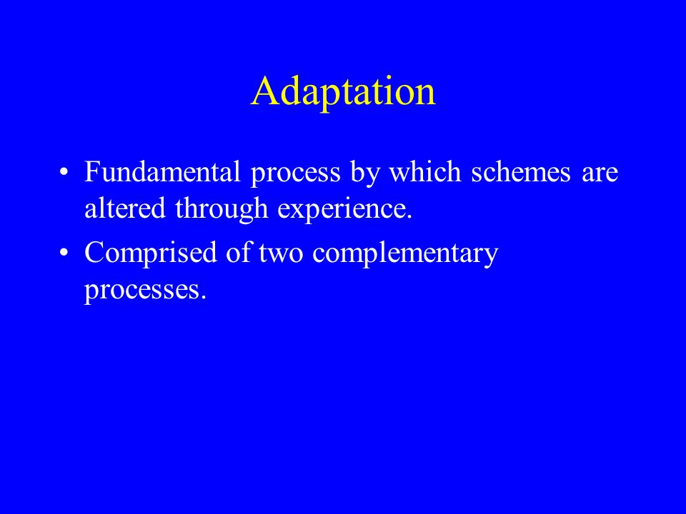 Adaptation Fundamental process by which schemes are altered through experience.