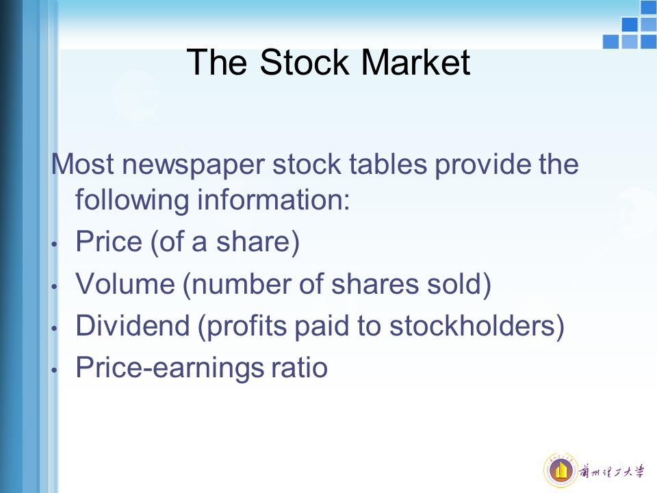 The Stock Market Most newspaper stock tables provide the following information: Price (of a share)