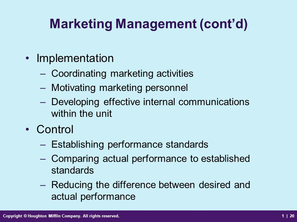 Marketing Management (cont'd)