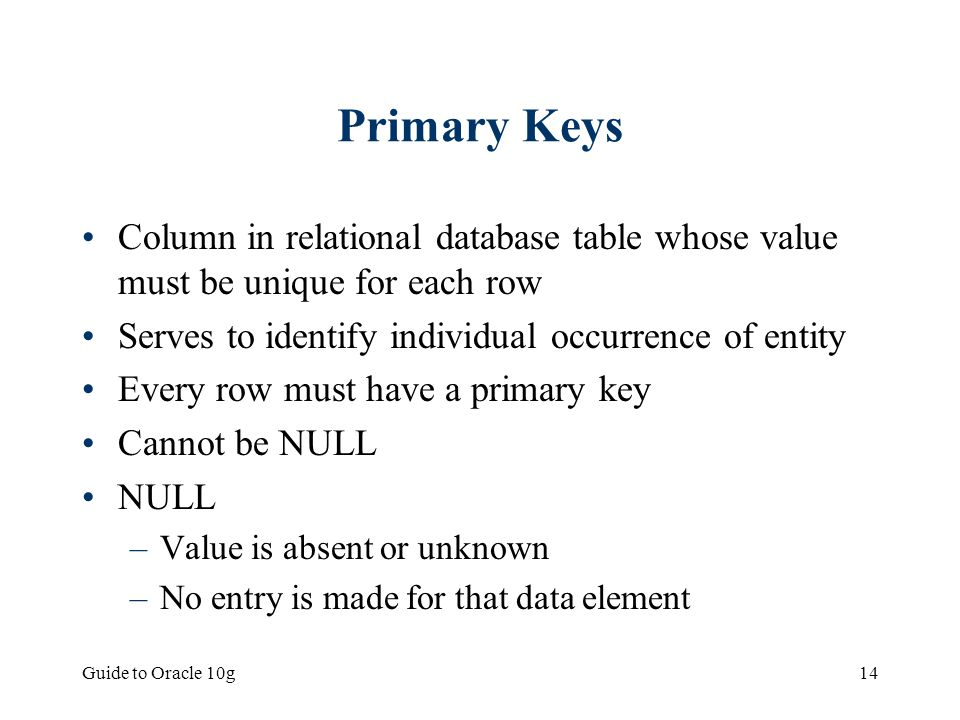 Primary Keys Column in relational database table whose value must be unique for each row. Serves to identify individual occurrence of entity.