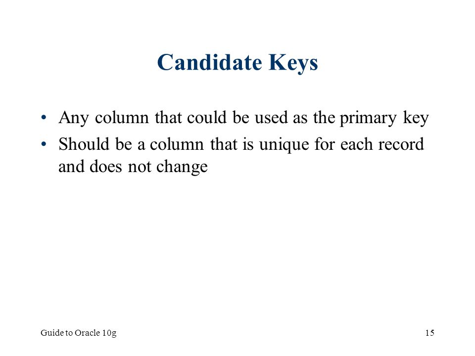 Candidate Keys Any column that could be used as the primary key