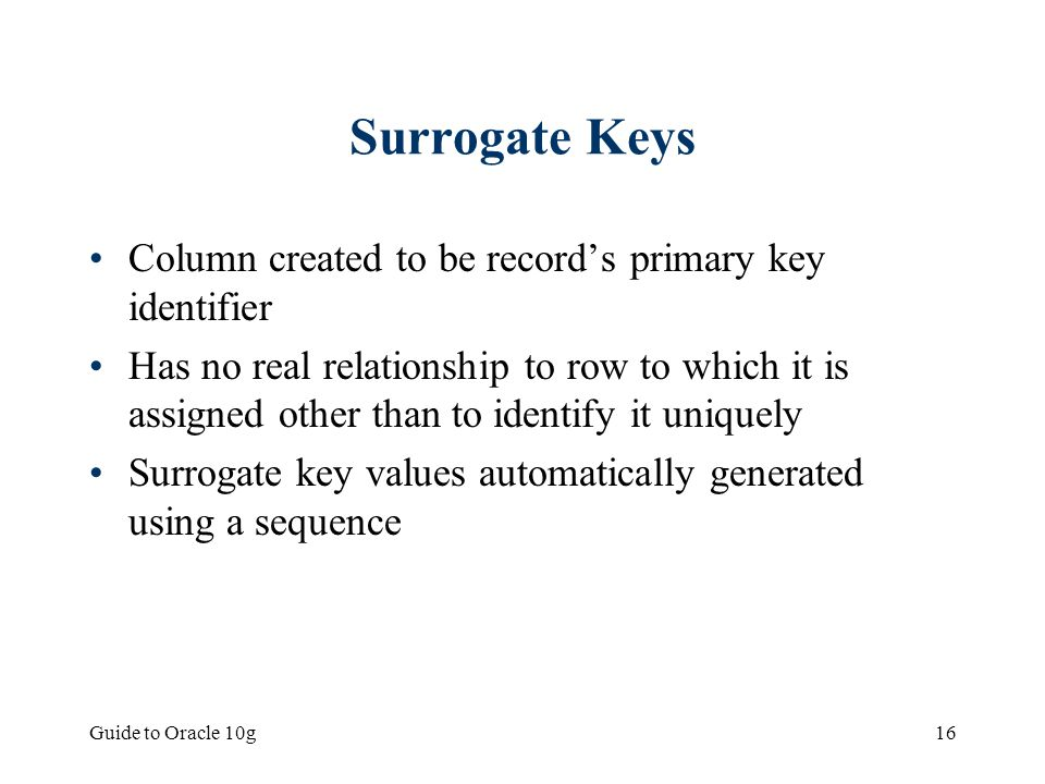 Surrogate Keys Column created to be record's primary key identifier