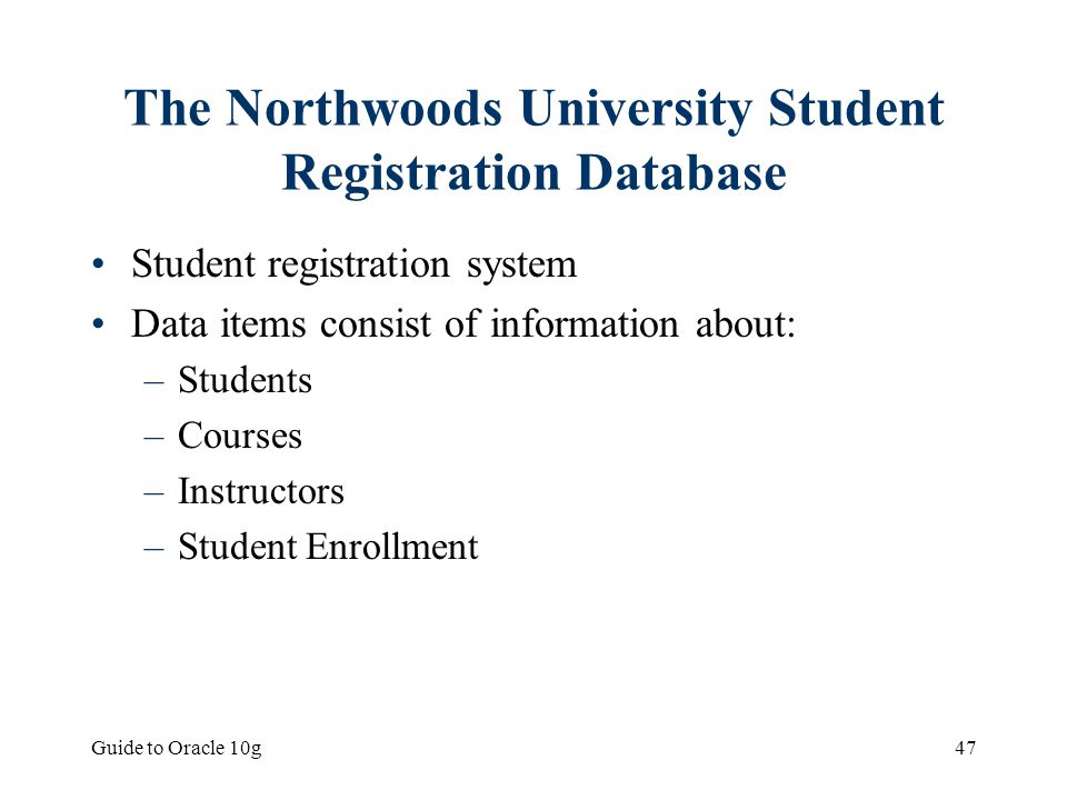 The Northwoods University Student Registration Database