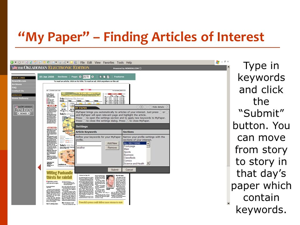 My Paper – Finding Articles of Interest