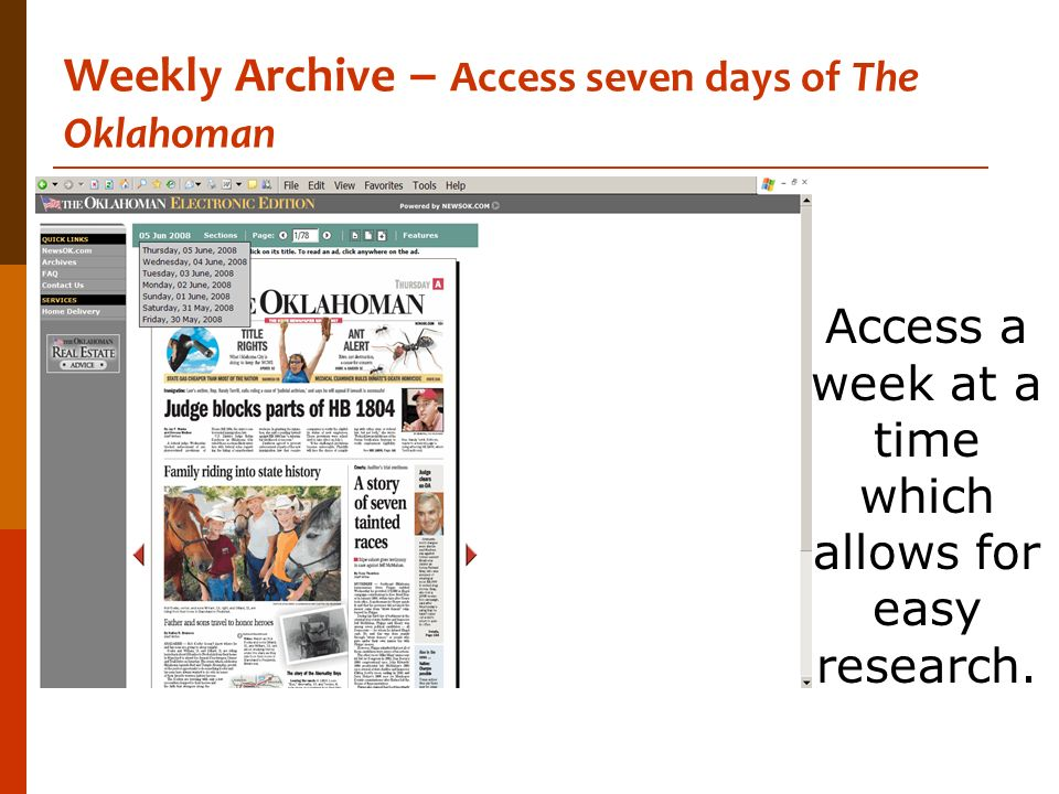 Weekly Archive – Access seven days of The Oklahoman