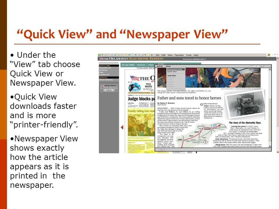 Quick View and Newspaper View