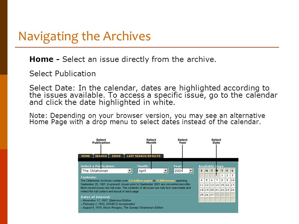 Navigating the Archives