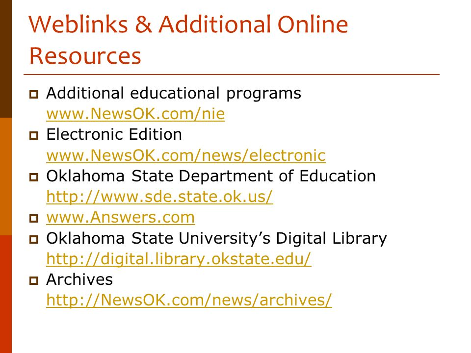 Weblinks & Additional Online Resources