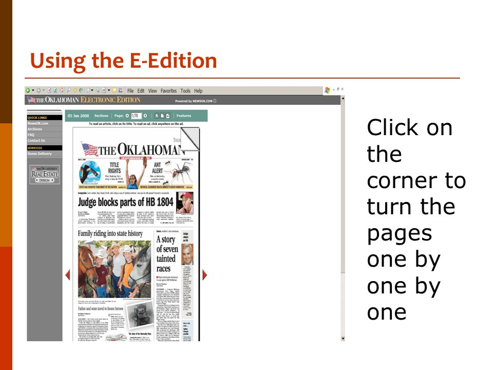 Using the E-Edition Click on the corner to turn the pages one by one by one